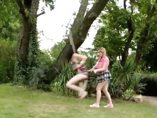 Huge-chested Step Sisters Practice Outdoor Girl/girl Loving