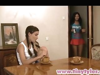 Little Tyler And Her Lesbo Gf Share Love Making