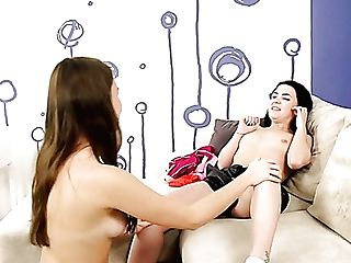 Ardent Dark Haired Lesbos Gonna Use A Dual Ended Fuck Stick For Awesome Fucky-fucky