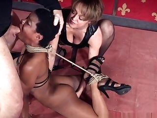 Black Domination & Submission Sub With Bigtits Tied In Trio