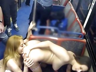 Lesbos Entertain Themselves In Public Transport
