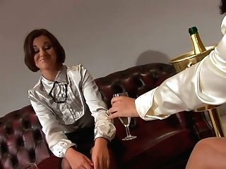 Beautiful Lesbos Wearing Silk Blouses Have Fun Billiard And Smooch Passionately