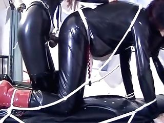Spandex Girly-girl Servant Fucked With Strap-on