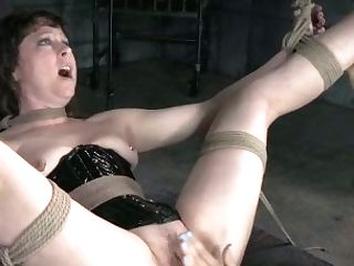 Mistress Penalizes Obese Dark Haired In Spandex Corset