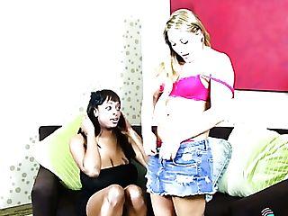 Milky Nymphomaniac Helps Big Bottomed Black Nymphomaniac To Masturbate Her Slit