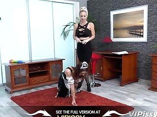 Big Tit Manager Urinates On Servant Maid - Pissing Lezzies